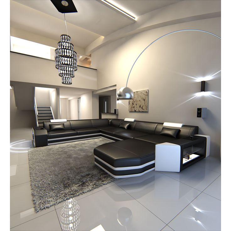 Nice Modern U Shaped Sectional Sofa Dallas XXL With LED Lights (Sectional Sofa),  Black