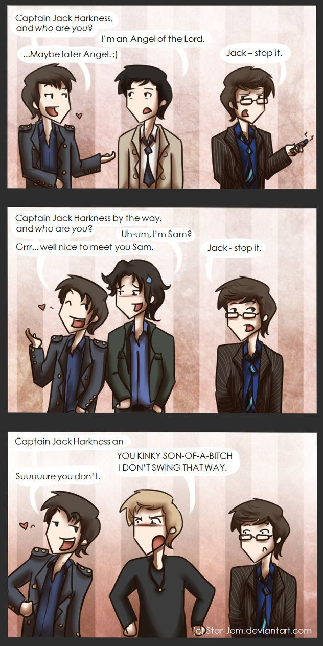 Superwholock strikes again. The last panel made me laugh so hard. I can hear Jack and Dean's voices saying exactly those lines.