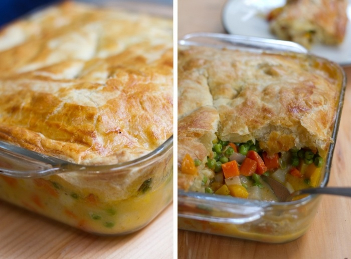 vegetarian pot pie. (in a large baking dish - no mini pies!)