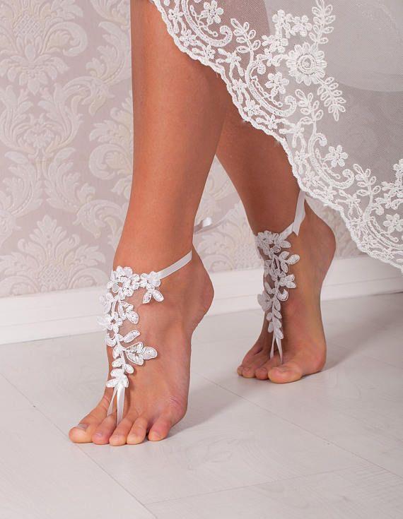 White Lace Barefoot Sandals Bridal Shoes Wedding Shoes Bridal Footless Sandals Beach Wedding Lace Sandals Foot Thongs Bridesmaid Gift Barfuss Sandalen Hochzeit Braut Sandalen Brautschuhe