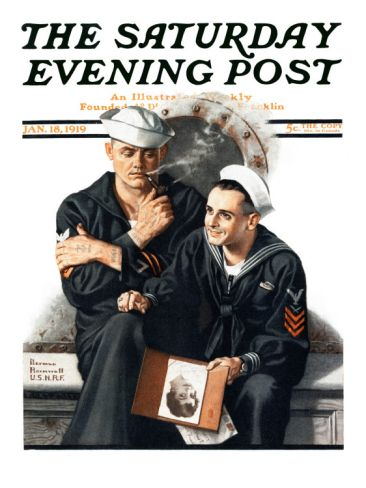 """""""Thinking of the Girl Back Home"""" Saturday Evening Post cover by Norman Rockwell  [January 18, 1919]"""