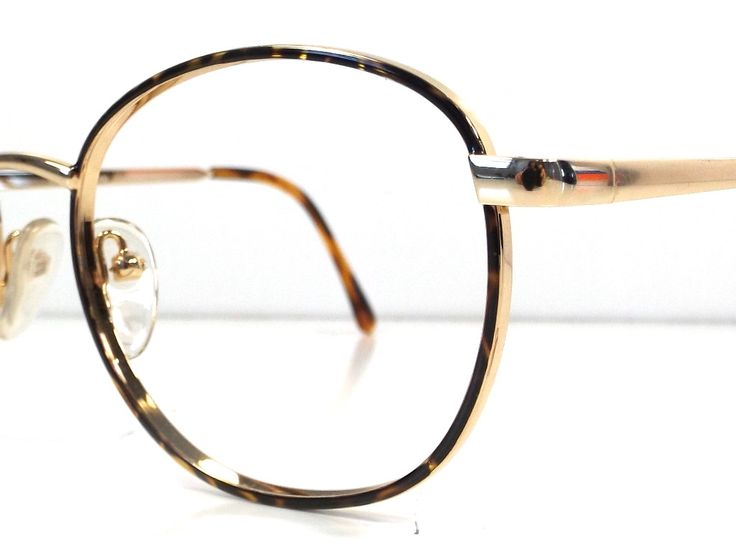 vintage 80s deadstock round frames eyeglasses shiny gold metal tortoise shell resin retro eye glasses oversize ao safety new A52 by RecycleBuyVintage on Etsy