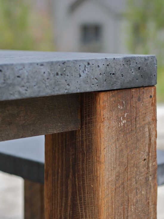 wood and concrete dining room table