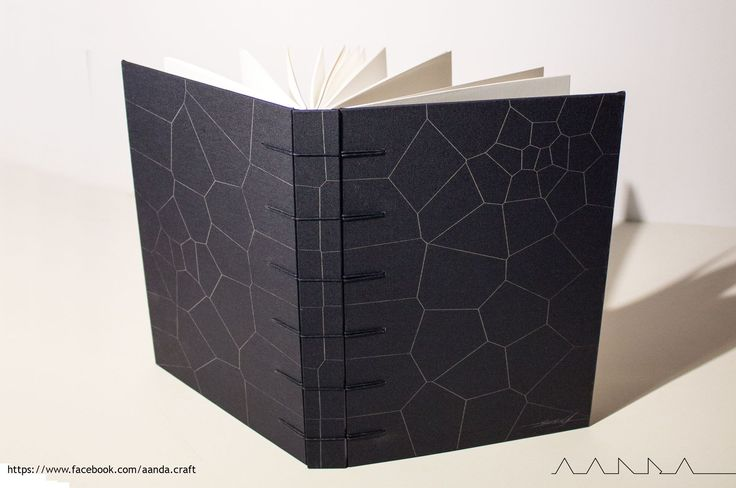 sketchbook with parametric pattern on covers - voronoi, secret belgian binding.