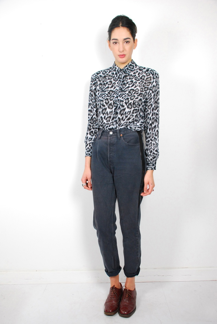 Cool black and white leopard print shirt. C