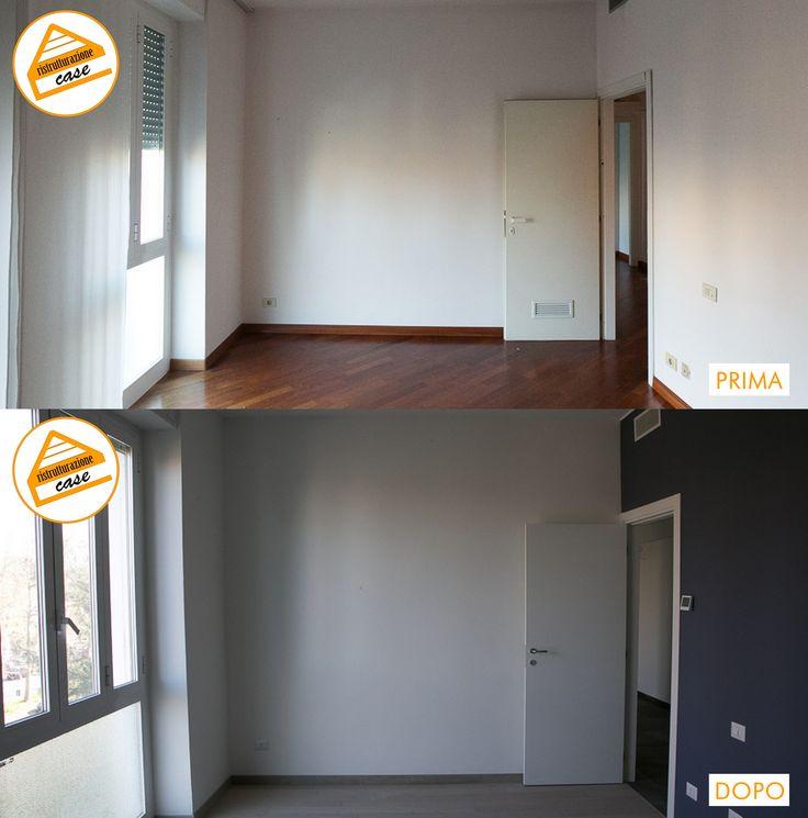 Prima e dopo della ristrutturazione di una camera: posa parquet sopra quello esistente, cambio porta interna e colorazione parete.