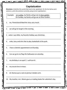 capitalization worksheet 10 sentences with capitalization errors that students must correct with. Black Bedroom Furniture Sets. Home Design Ideas