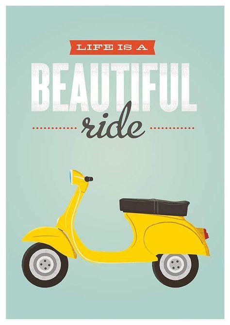 Retro Quote print vespa bike poster inspirational quote by handz