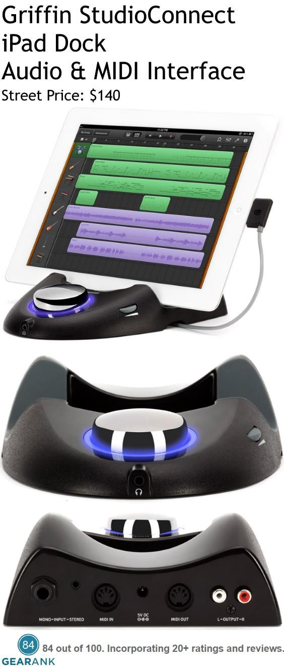 """Griffin StudioConnect iPad Dock Audio & MIDI Interface.  Comes with a Lightning connector for iPad mini and iPad (4th generation)/  Compatible audio and MIDI interface for most iOS music-creation apps.  1/8"""" stereo and 1/4"""" DI inputs let you hook up your guitar, bass, keys, or other music gear.  1/8"""" stereo headphone jack and stereo RCA outputs provide connections for your monitors.  For a Detailed Guide to iPad Audio Interfaces see https://www.gearank.com/guides/ipad-audio-interface"""