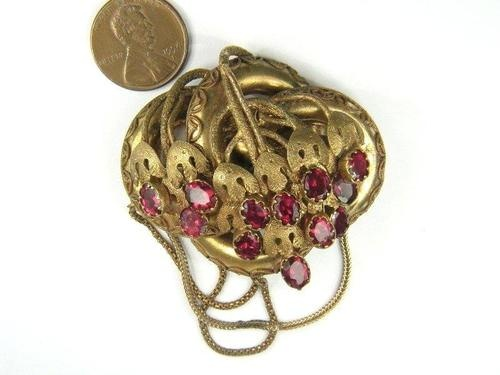Antique English Pinchbeck Ruby Paste Floral Pin Brooch c1840