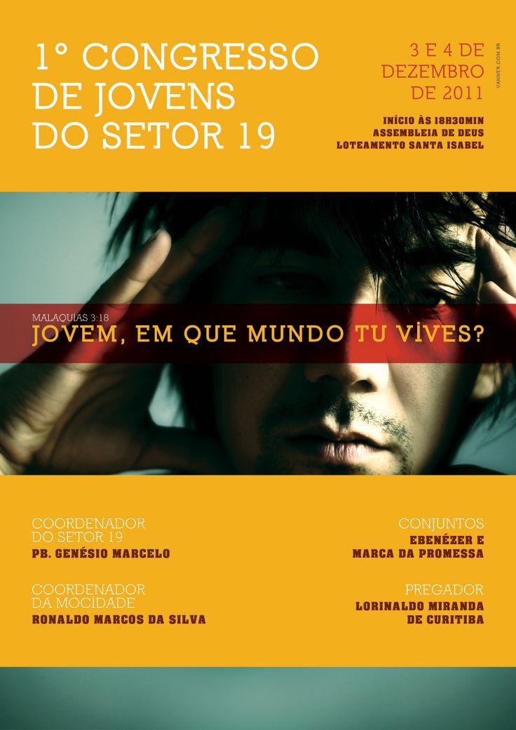 Poster do 1ª Congresso de Jovens do Setor 9 da Assembleia de Deus, de Criciúma.