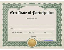Template For Certificates Of Participation Awards  Printable Certificate Of Participation