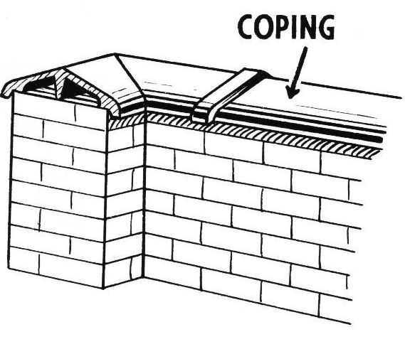 Coping A Protective Cap Of Brick Stone Or Concrete