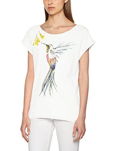 ESPRIT 047ee1k069, T-Shirt Donna, Multicolore (Off White 110), Small