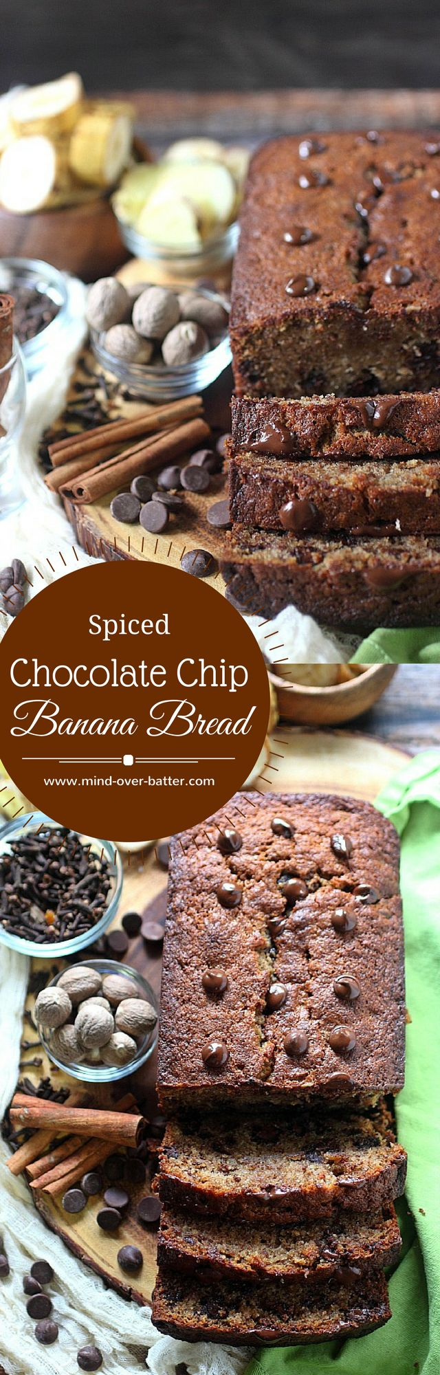 Spiced Chocolate Chip Banana Bread -- www.mind-over-batter.com
