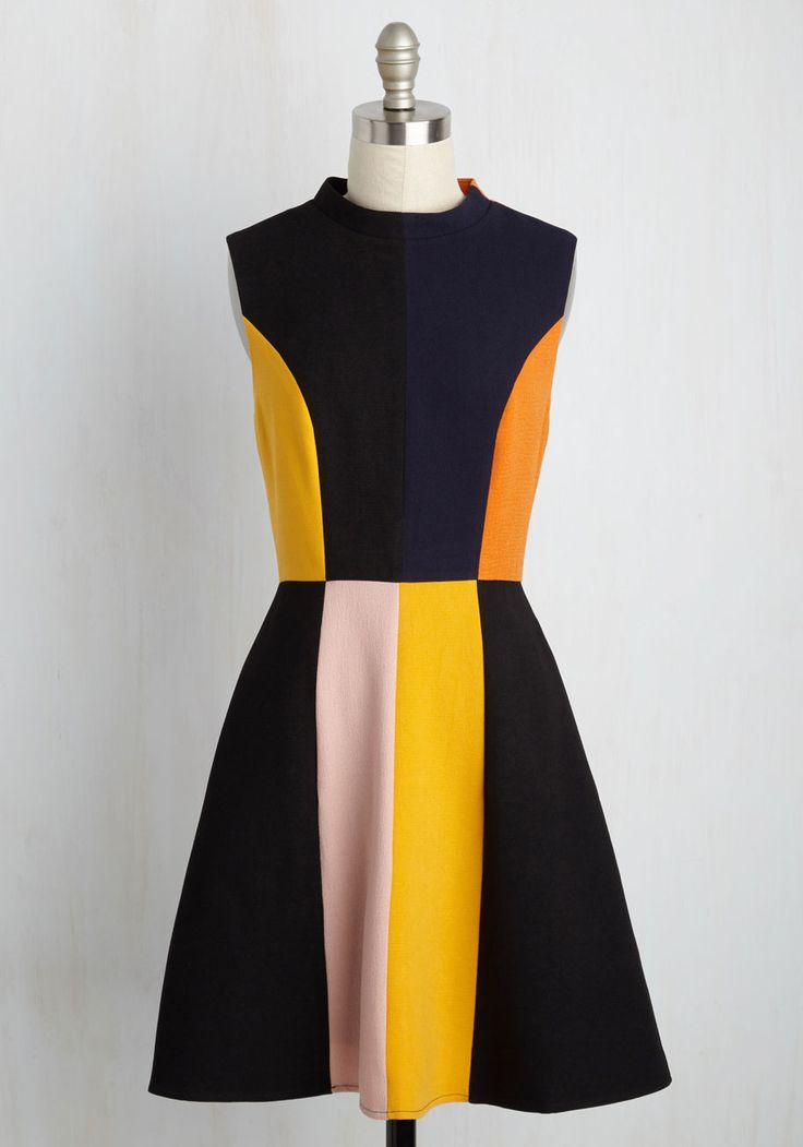 Mod Squad Goals A-Line Dress. Everyone will want to be a part of your retro-chic posse the moment they spy you in this colorblocked dress! #multi #modcloth