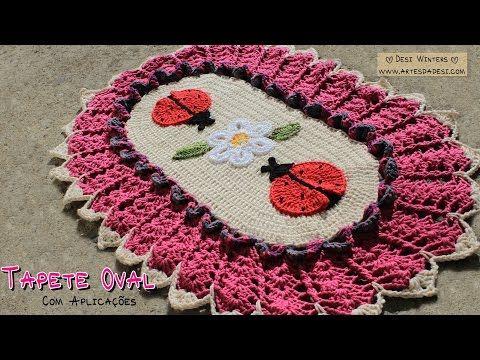 Tapete Oval de #crochê com Joaninhas - Artes da Desi - YouTube