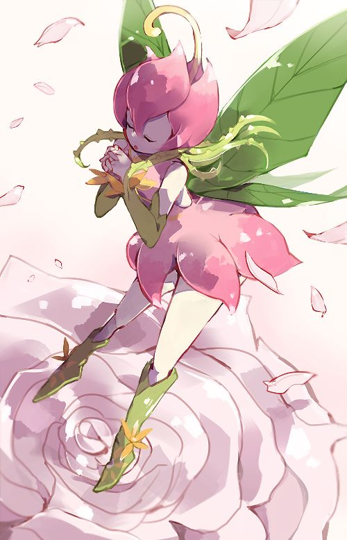 Tags: Anime, Natsuki Aisae, Digimon Adventure, Lillymon, Plant Wings, White Flower, Green Armwear