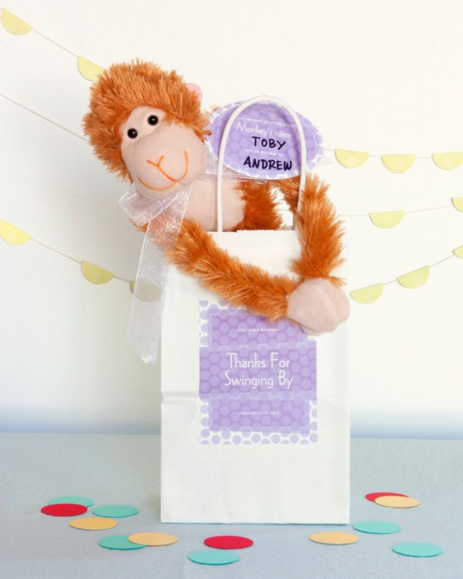 Adopt A Monkey Party Favors from My Own Ideas blog #birthday #kids #monkey #party #favor