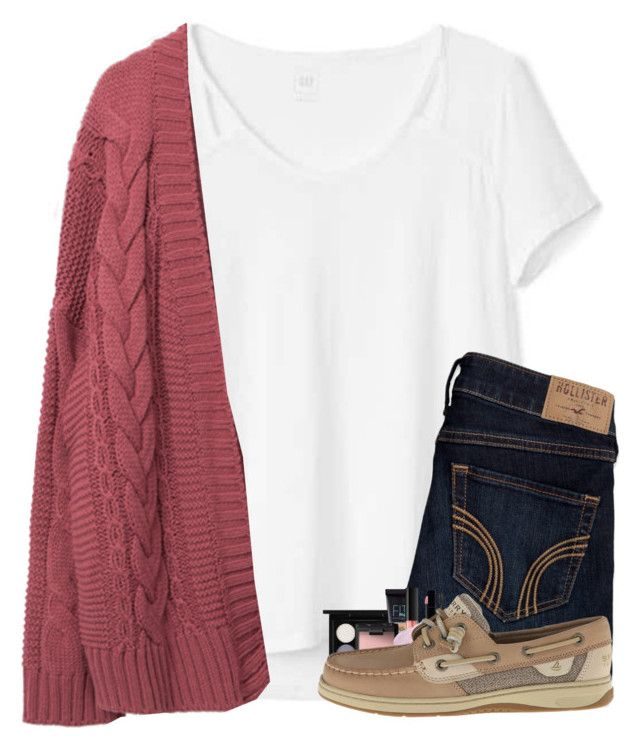"""""""i start swimming in gym tomorrow"""" by arielforlife ❤ liked on Polyvore featuring Gap, Hollister Co., MAC Cosmetics, Maybelline, NARS Cosmetics, Huda Beauty, Lipstick Queen, Gucci and Sperry"""