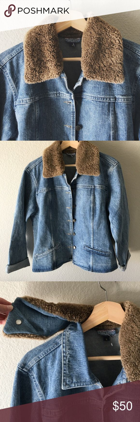 🎉Host Pick🎉NWOT Denim Old School Jean Jacket Never been worn; brand new without tags. Removable lamb skin collar. 100% cotton. Denim Old School Jackets & Coats Jean Jackets