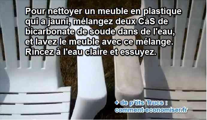 Vous cherchez un truc pour nettoyer et raviver la blancheur de vos meubles en PVC ?  Découvrez l'astuce ici : http://www.comment-economiser.fr/raviver-couleurs-meubles-plastiques.html?utm_content=buffer08976&utm_medium=social&utm_source=pinterest.com&utm_campaign=buffer