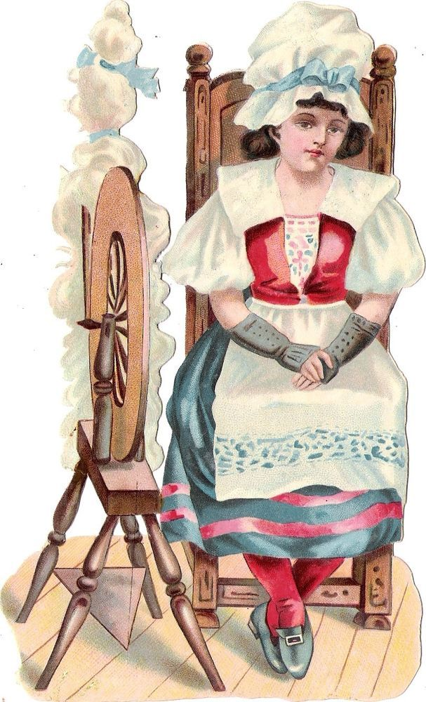Oblaten Glanzbild scrap die cut chromo Mädchen girl  17cm Spinnrad spinningwheel