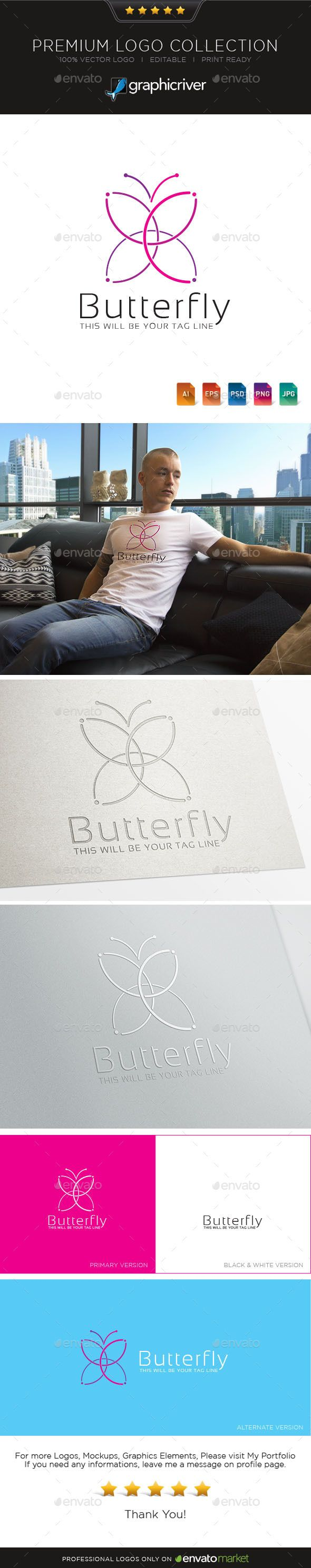 Logotype butterfly and letter b in different colour variants on a - Butterfly Logo Symbol
