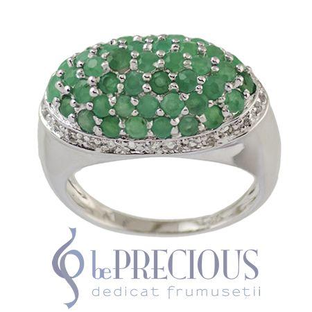 Inel argint cu smaralde si topaze albe - www.beprecious.ro