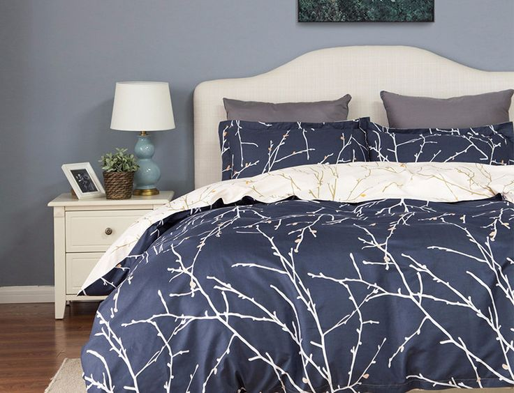 Navy Blue & Cream Duvet Cover Set