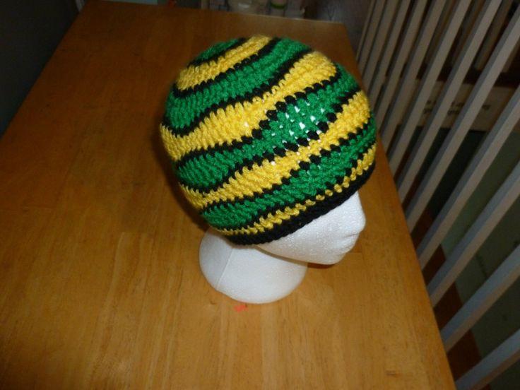Crochet Jamaican Beanie - Jamaican Colors - Gold Green Stripes -https://www.etsy.com/listing/249909763/crochet-jamaican-beanie-jamaican-colors