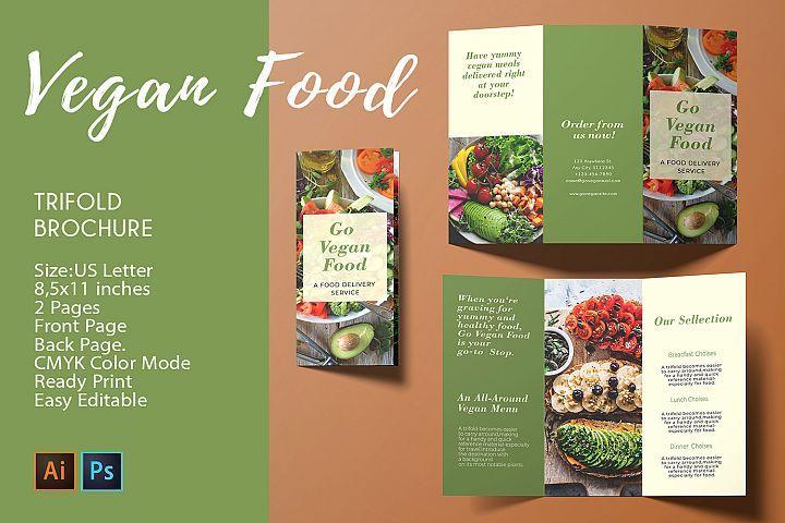 Trifold Brochure Vegan Food 2 Psd Ai Templates Cmyk 280258 Brochures Design Bundles Brochure Food Portfolio Template Design Brochure