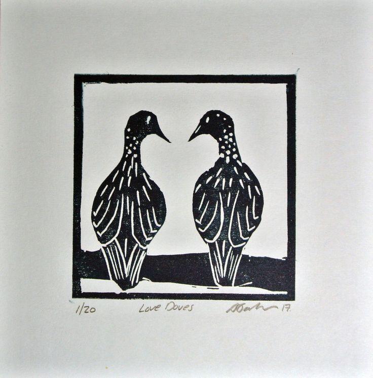 Valentine Lino Print, Art, Love Doves, Birds, Gift, Ready to Hang Original by AJ #Miniature