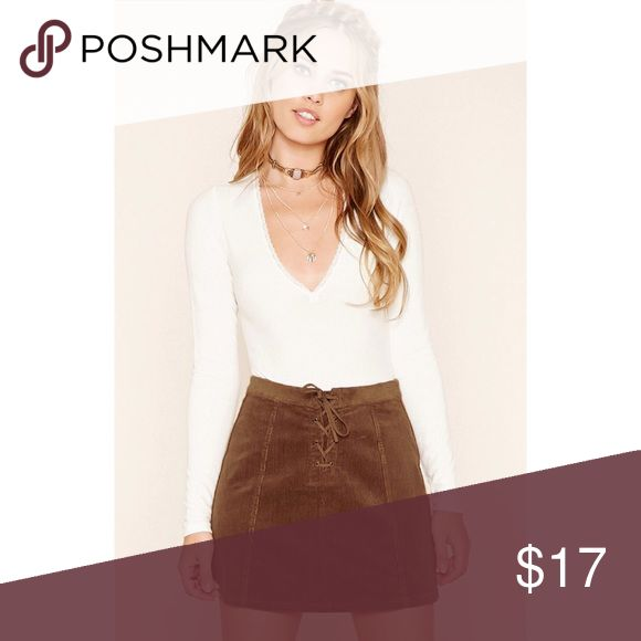 Corduroy Lace Up Mini Skirt Such an adorable skirt but way too big for me! Still has tags and has never been worn. Sold out in stores and online, grab it while you can 😍💕 Forever 21 Skirts Mini