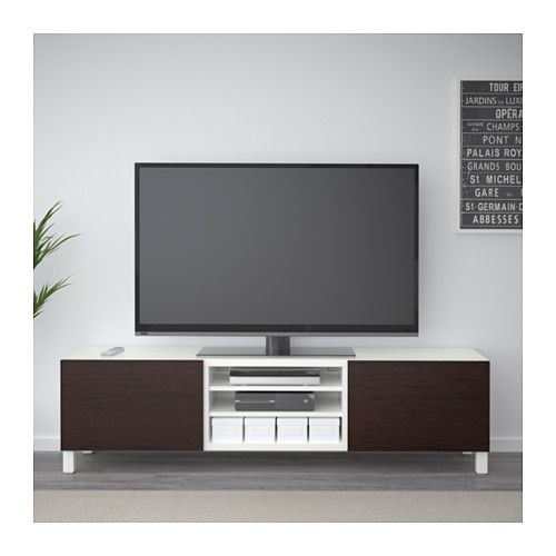 BESTÅ TV unit with drawers - white/Inviken black-brown, drawer runner, soft-closing - IKEA