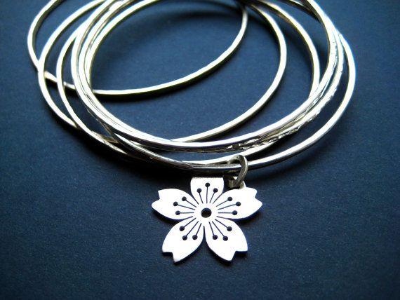 Sterling Silver Sakura No.3 Charmbangle by CeebWassermann on Etsy, $102.00
