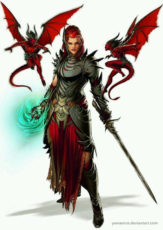 f Elf Warlock sword casting w Quasit Demons