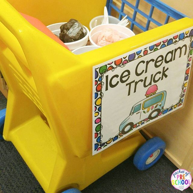 Make an ice cream truck for your dramatic play Ice Cream Shop using a shopping cart!  Ice Cream Dramatic Play pack has labels, menus, order forms, role necklaces, prop making tips, prop patterns, signs, parent letter, teacher planning web, real classroom photographs, and MORE.