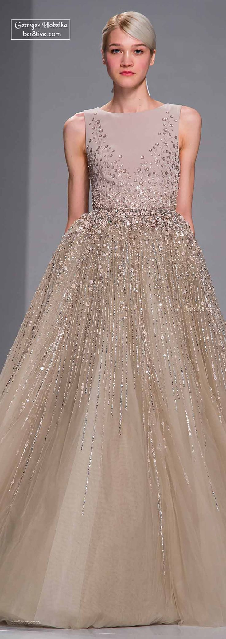 Georges Hobeika ~ Haute Couture Spring Taupe Sequin Chiffon Ball Gown w Crepe Bodice 2015