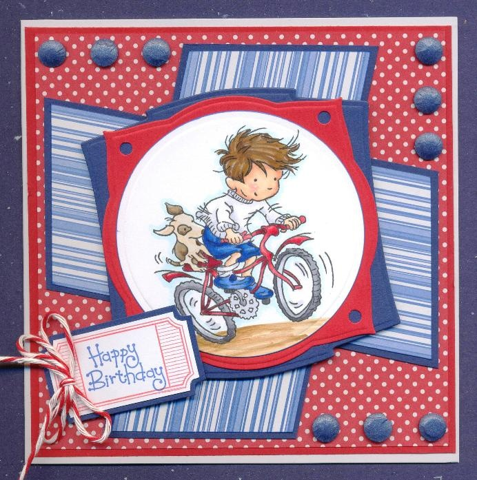 Boy's card with Cards a stamp from Lili of the Valley