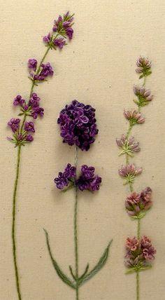 Beautiful hand embroidered lavender, dimensional stitches - so pretty!