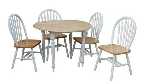 Tms 5 piece drop leaf dining set white natural by target for Wood dining sets with leaf