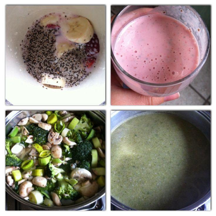 - smoothie: aardbei, banaan, yoghurt, melk, chiazaad - soep : prei, champignons, broccoli, uien, knoflook, tuinkruiden bouillon. #healthyFood