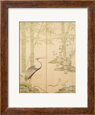 Bamboo and Crane, Edo Period (W/C on Panel) Giclee Print by Japanese at Art.com