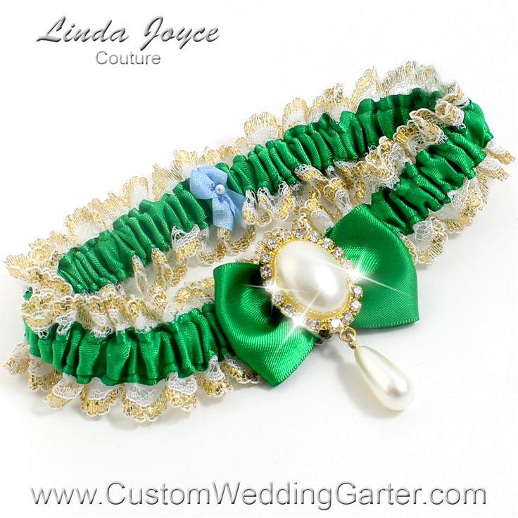 WEDDING GARTER Emerald Green Victorian Lace Wedding Garter Victoria 04 Gold