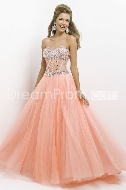 2014 Floor-length Beading Sweetheart Ball Gowns Tulle Prom Dresses