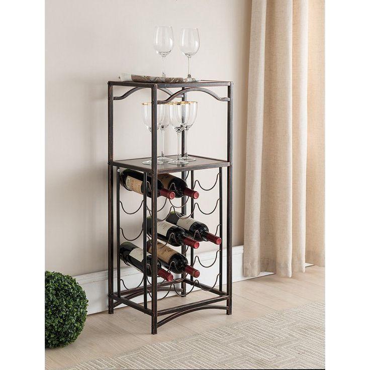 K&B Furniture Brushed Copper Metal Wine Rack | from hayneedle.com