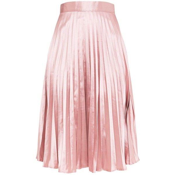 Harmonia Blush Satin Pleated Midi Skirt ($33) ❤ liked on Polyvore featuring skirts, satin pleated skirt, pink midi skirt, pink skirt, mid calf skirts and calf length skirts
