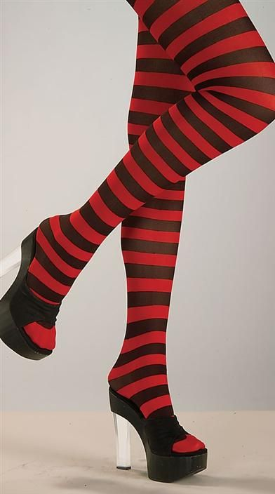 RED AND BLACK STRIPED STOCKINGS tights stockings leggings socks