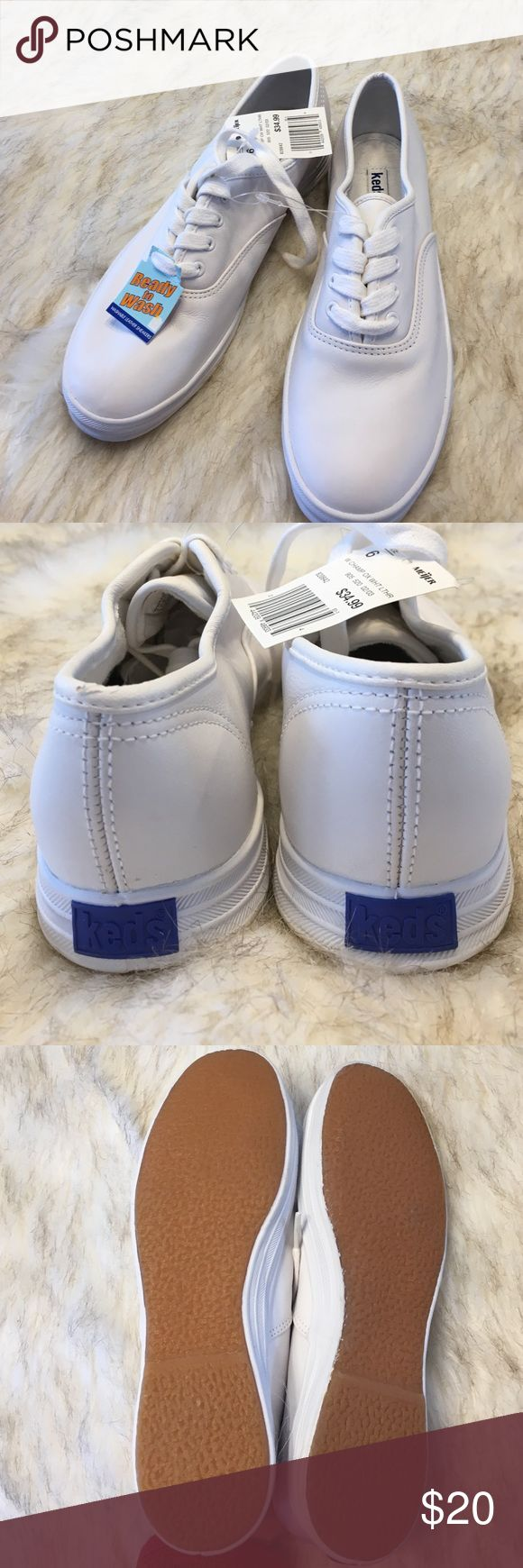 NWT White Leather Keds White washable leather Keds. New with tags. Keds Shoes Sneakers